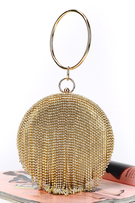 Gold Jessie Round Rhinestone Tassel Evening Clutch Bag