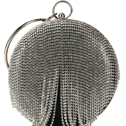 Black Silver Jessie Round Rhinestone Tassel Evening Clutch Bag For Fall Winter Spring Summer