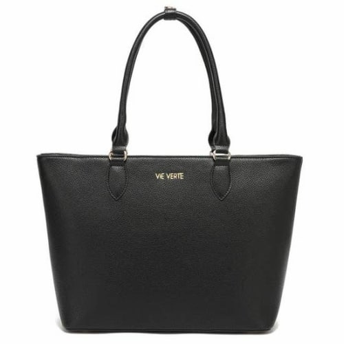Black Lydia Vegan Leather Classic Tote Handbag For Fall Winter Spring Summer