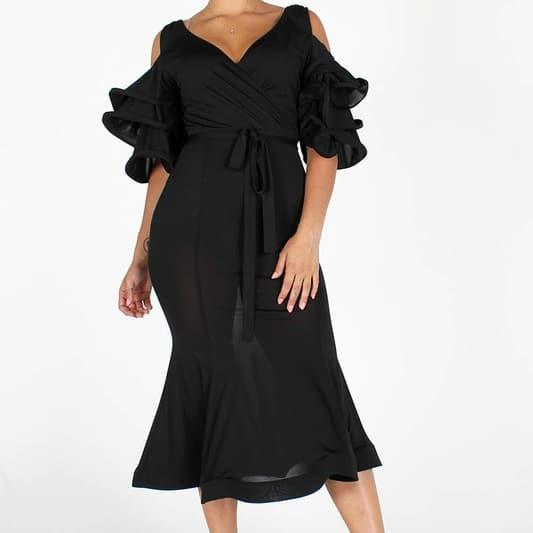 UNengi V Neck Tiered Sleeves Midi dress