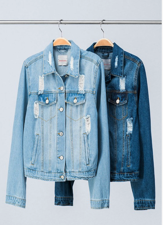 Meghan Distressed Denim Collared Jacket