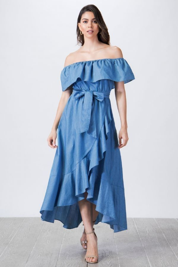 Blue Sia Off Shoulder Chambray Belted Dress For Fall Winter Spring Summer