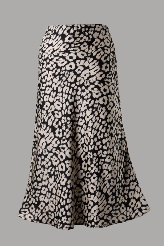 Ife Animal Print Woven Midi Skirt