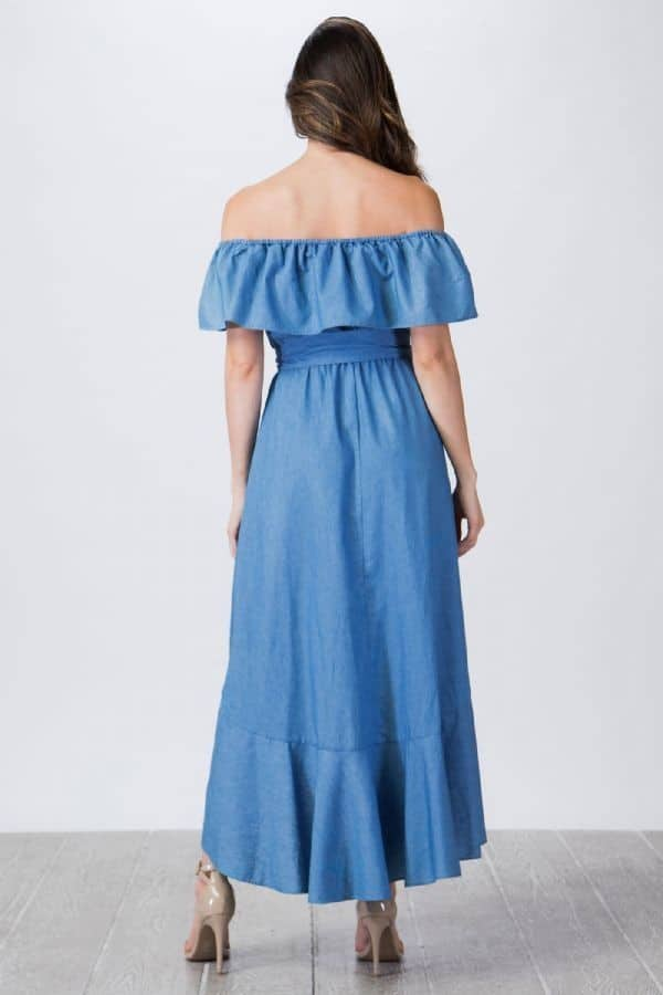 Sia Off Shoulder Chambray Belted Dress