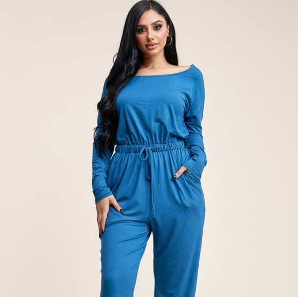 Nina Slouchy Long Sleeve Jumpsuit With Pockets