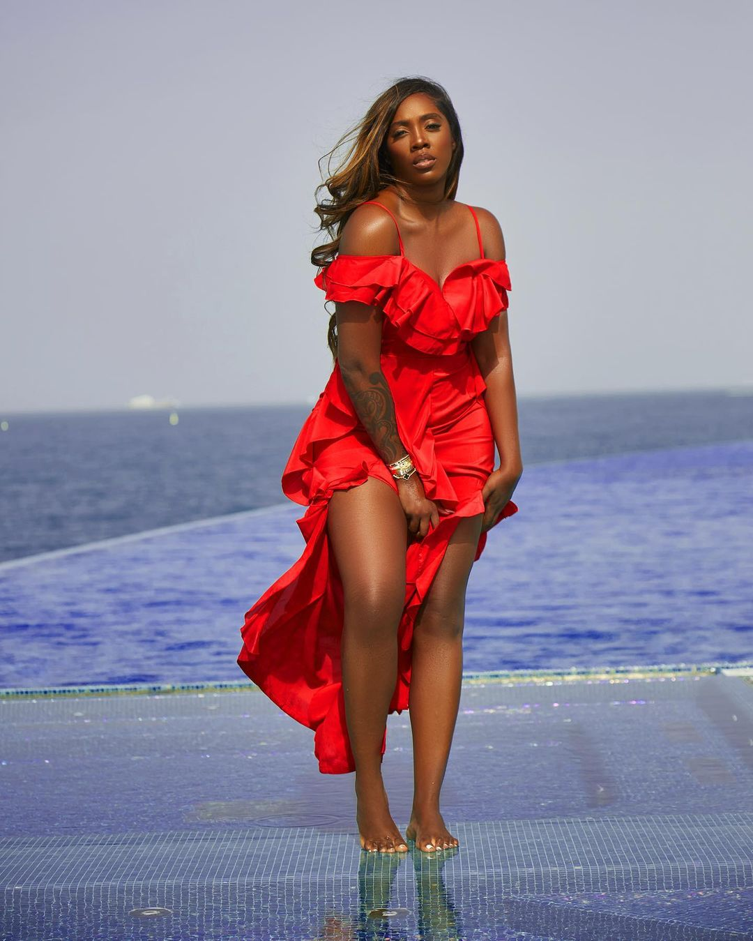 red dress tiwa savage
