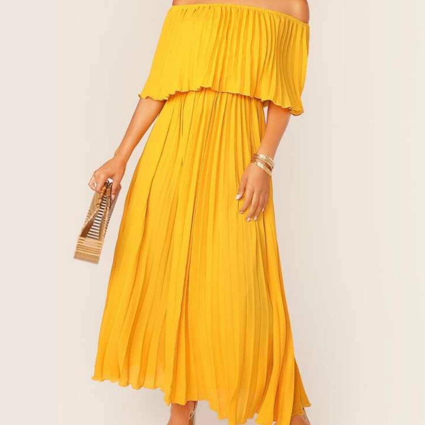 KRYSTAL CHIFFON PLEATS OFF / S MAXI DRESS