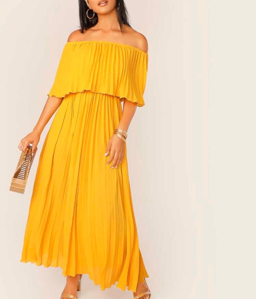 Yellow KRYSTAL CHIFFON PLEATS OFF/S MAXI DRESS For Fall Winter Spring Summer