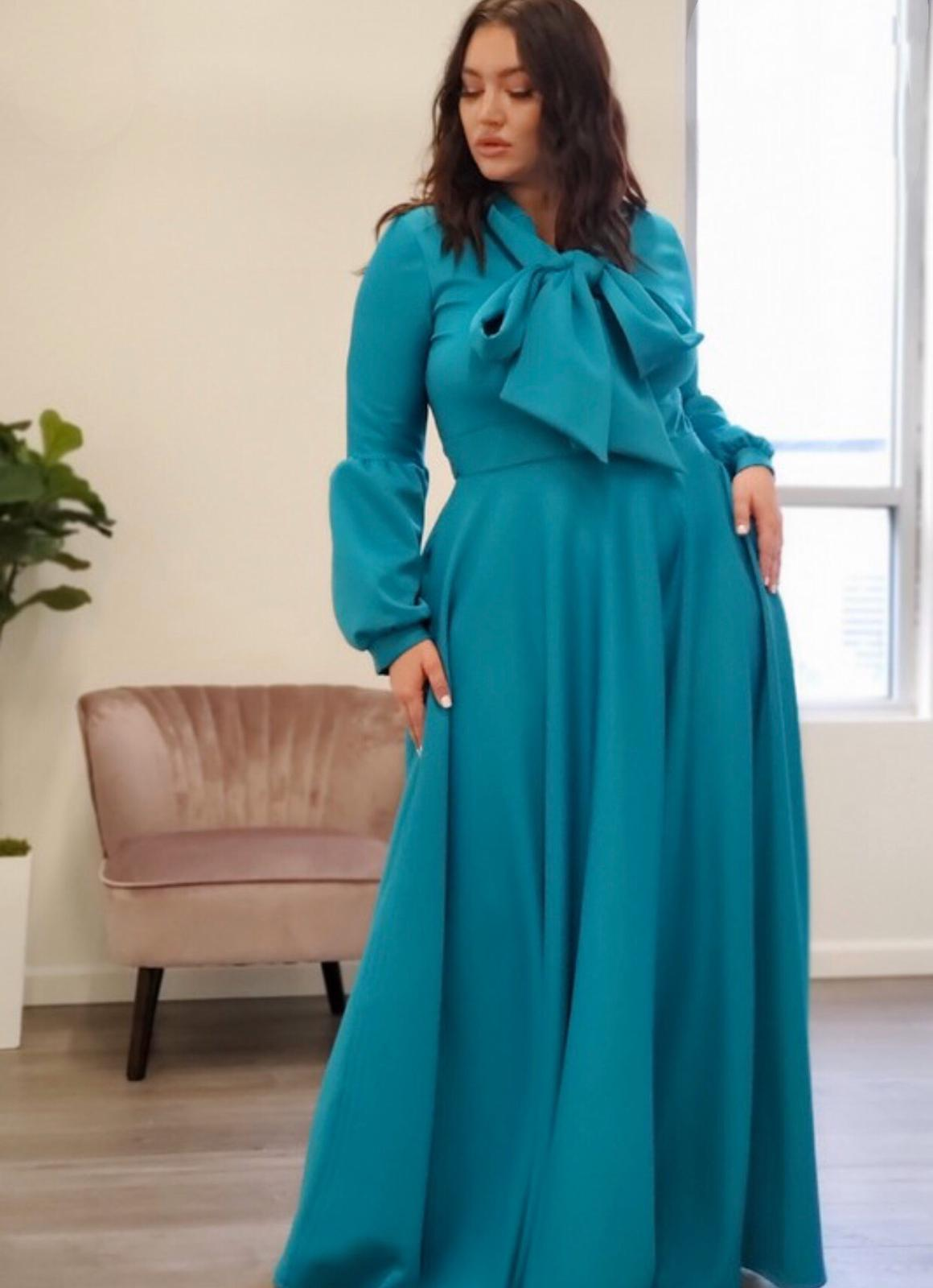 Teal Zainab Flared Maxi Dress With Necktie - Large Si For Fall Winter Spring Summer