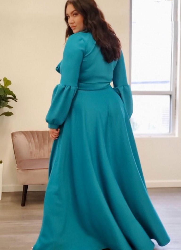 Zainab Flared Maxi Dress With Necktie - Large Sizes