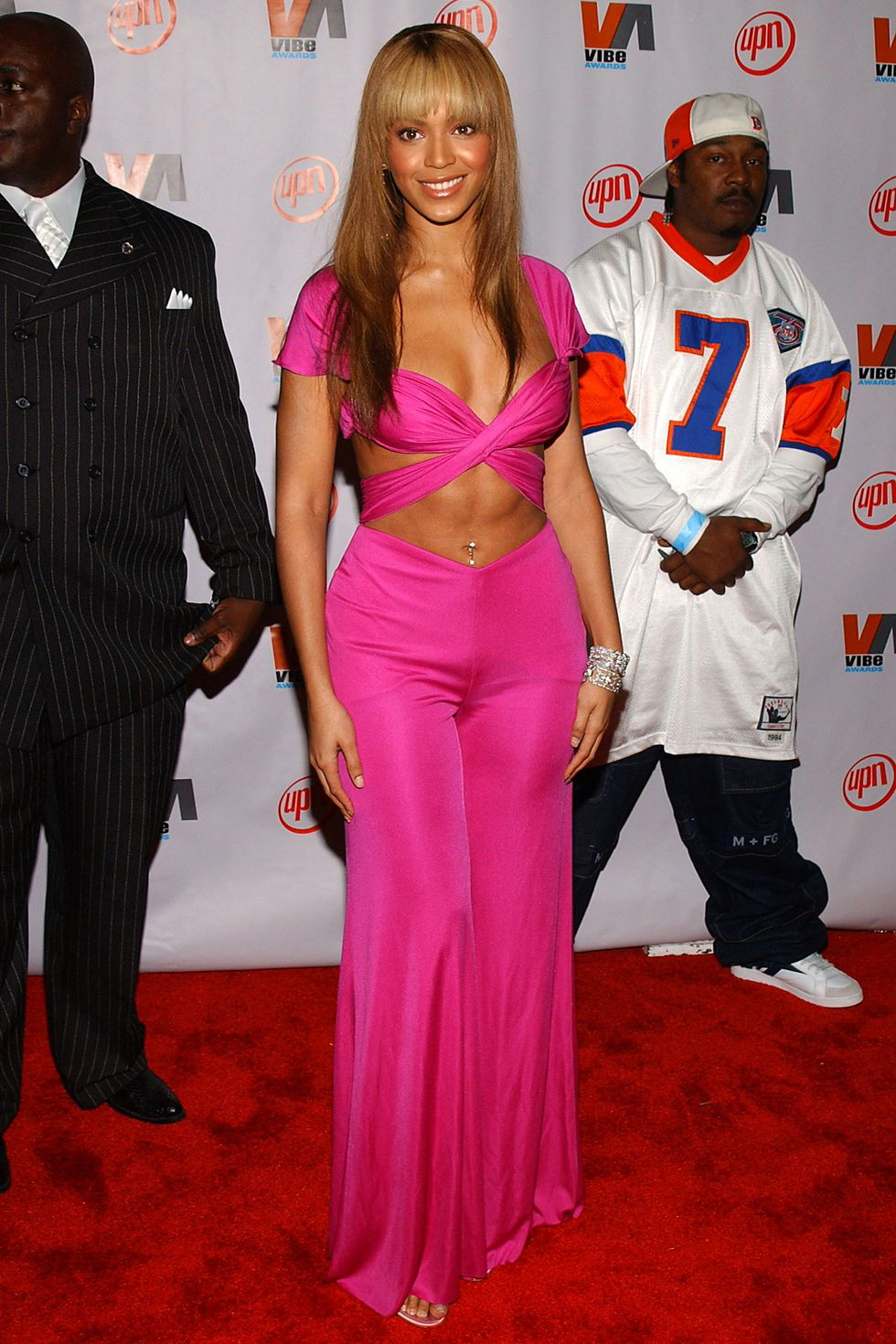 fuschia pink two piece evolution-of-beyonce-knowles-red-carpet-fashion-style-2020-bootylicious-before-surgery