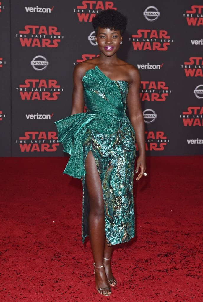 black actress wearing a dramatic slit dress on the red carpet Star Wars 2020