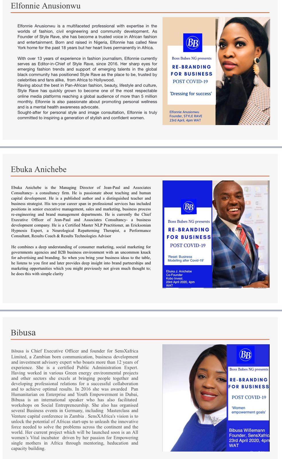 Elfonnie Ebuka Anichebe Bibusa Wibemann Rebranding for business post covid-19