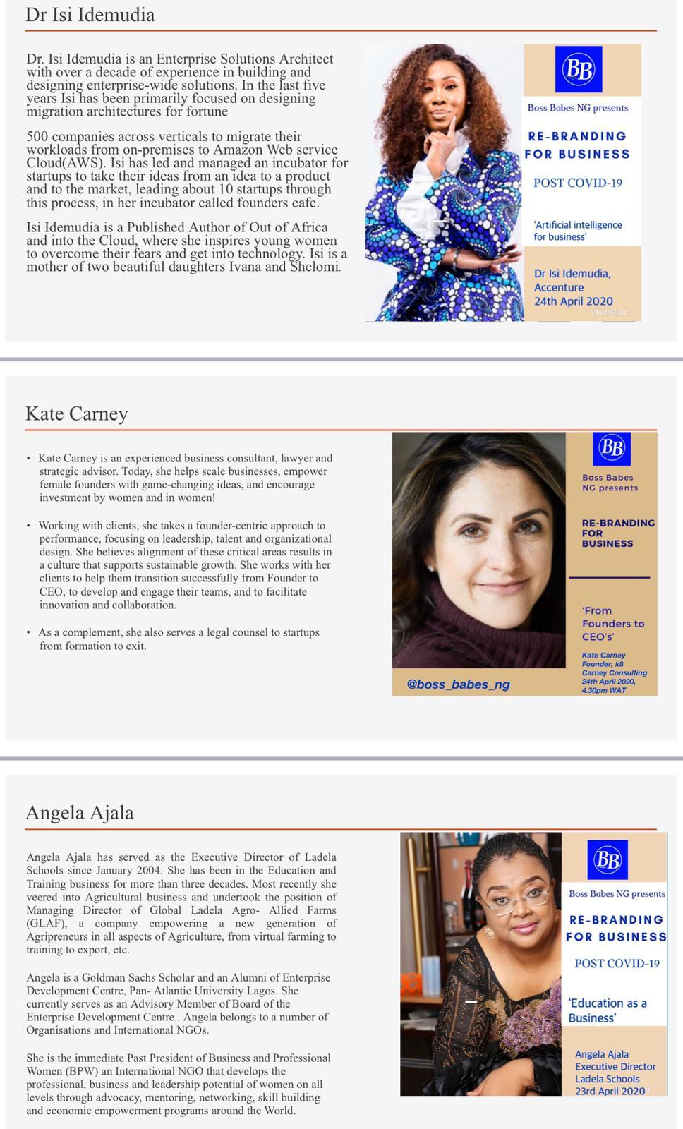 Isi Idemudia Kate Carney Angela Ajala Rebranding for business post covid-19