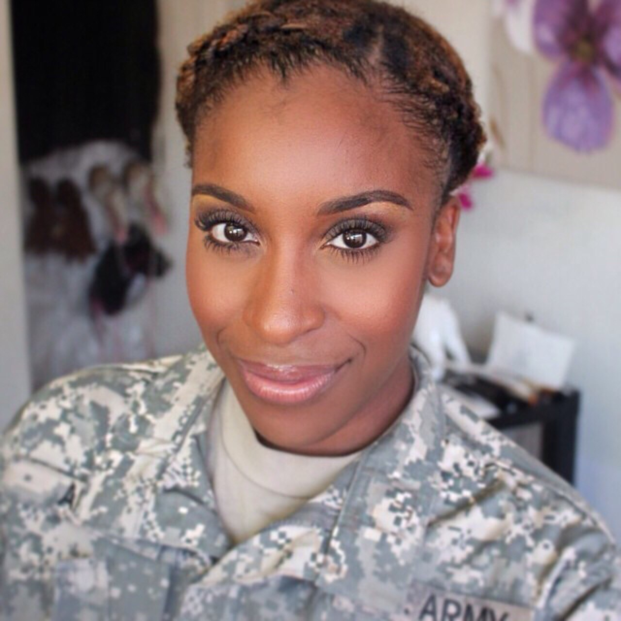 Jackie Aina in the army
