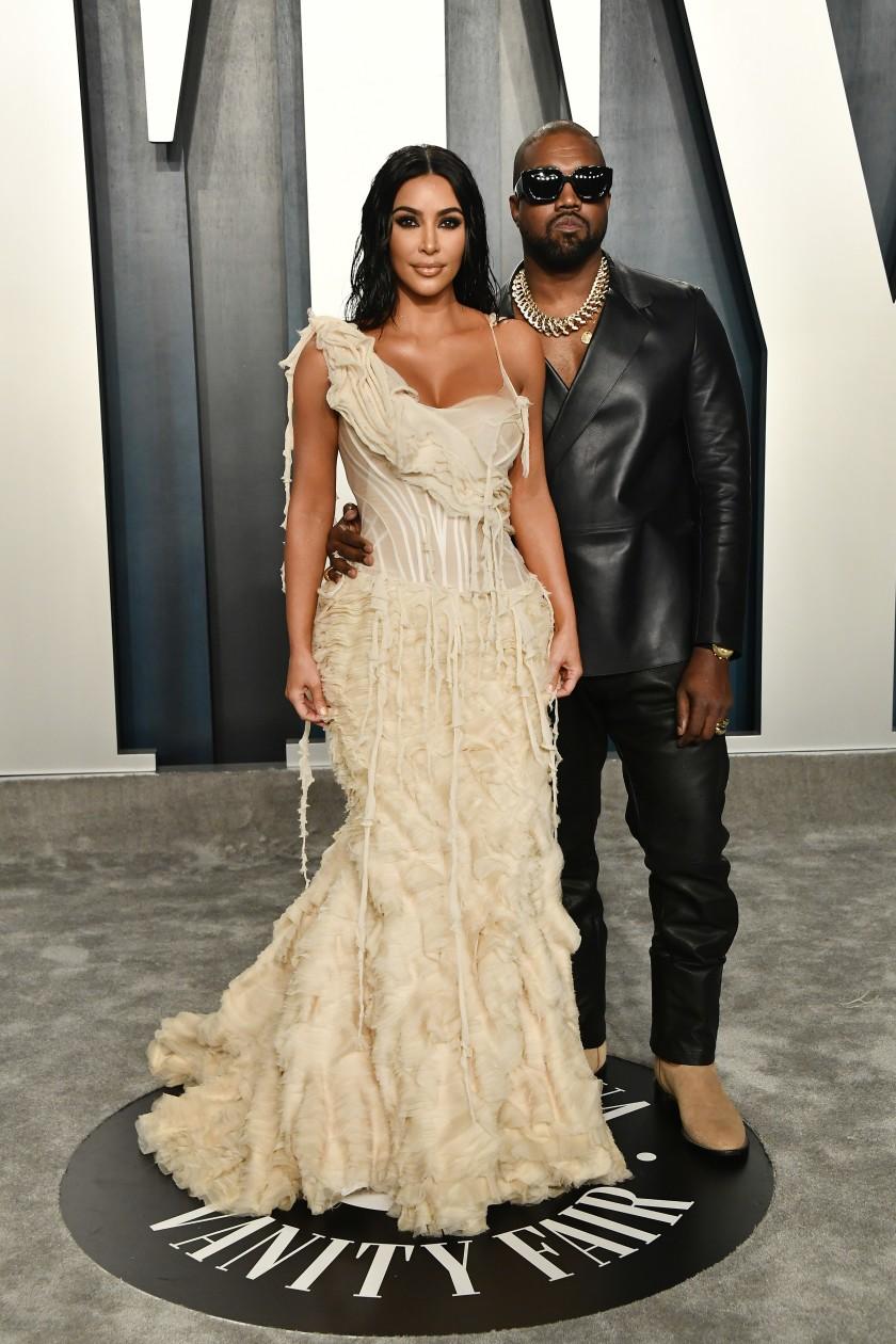 Kim Kardashian and Kanye West at the 2020 Oscars