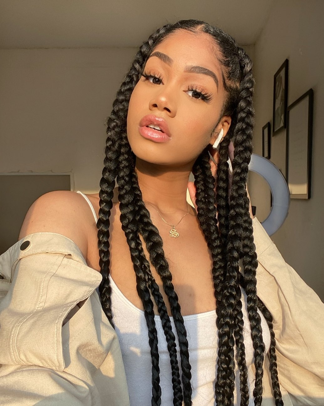 The Jumbo Knotless Braid Leads The Braided Hairstyles Trending Rn