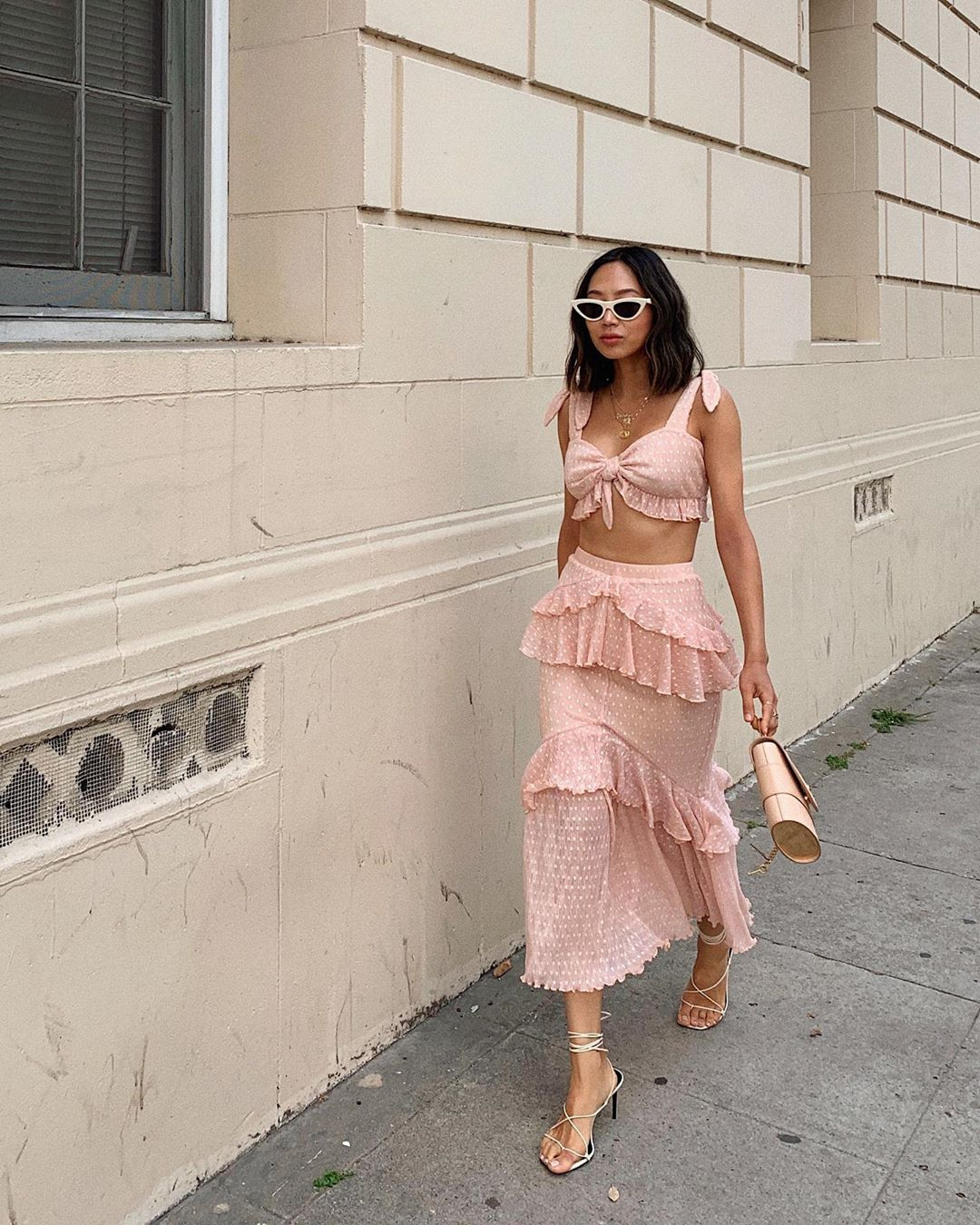 Aimee Song peach matching two-piece with frills