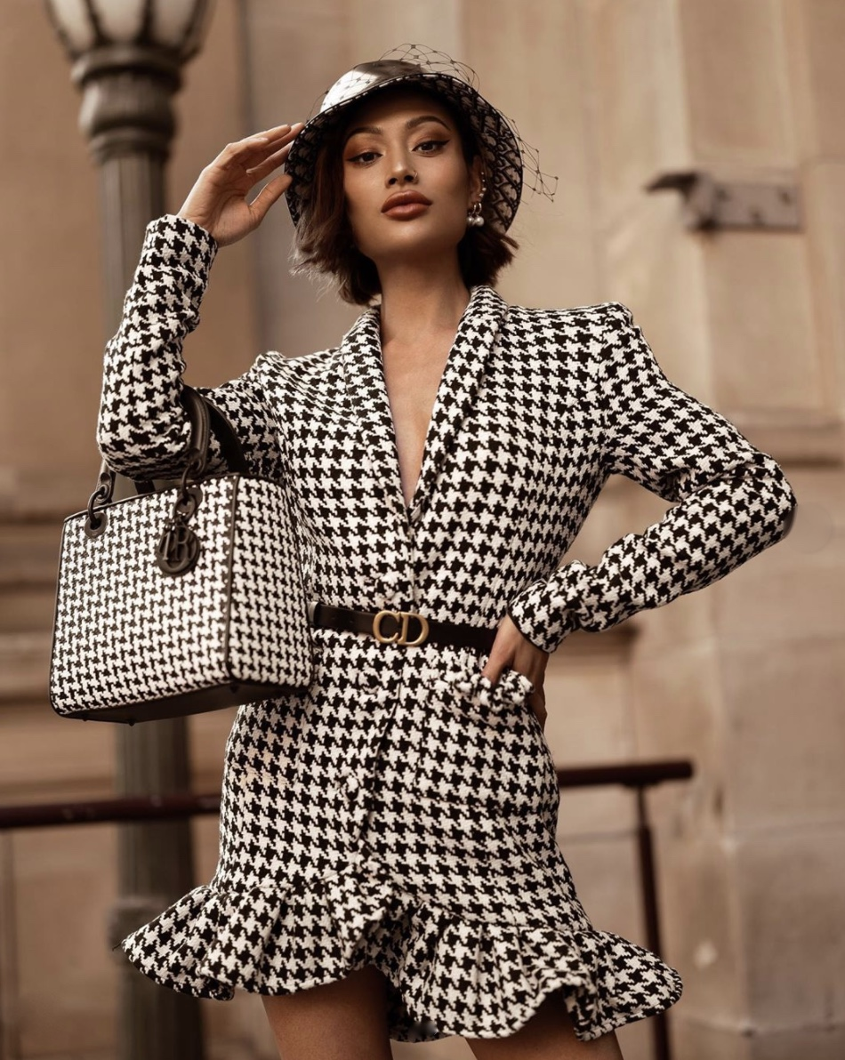 Micah Gianneli Houndstooth Frill Blazer Dress and Tote