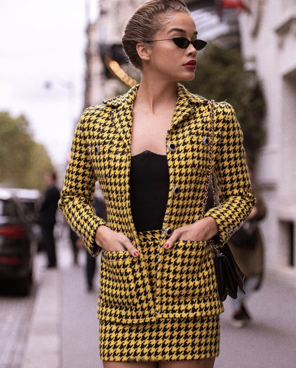 Jasmine Sanders Yellow Houndstooth mini skirt co-ord set