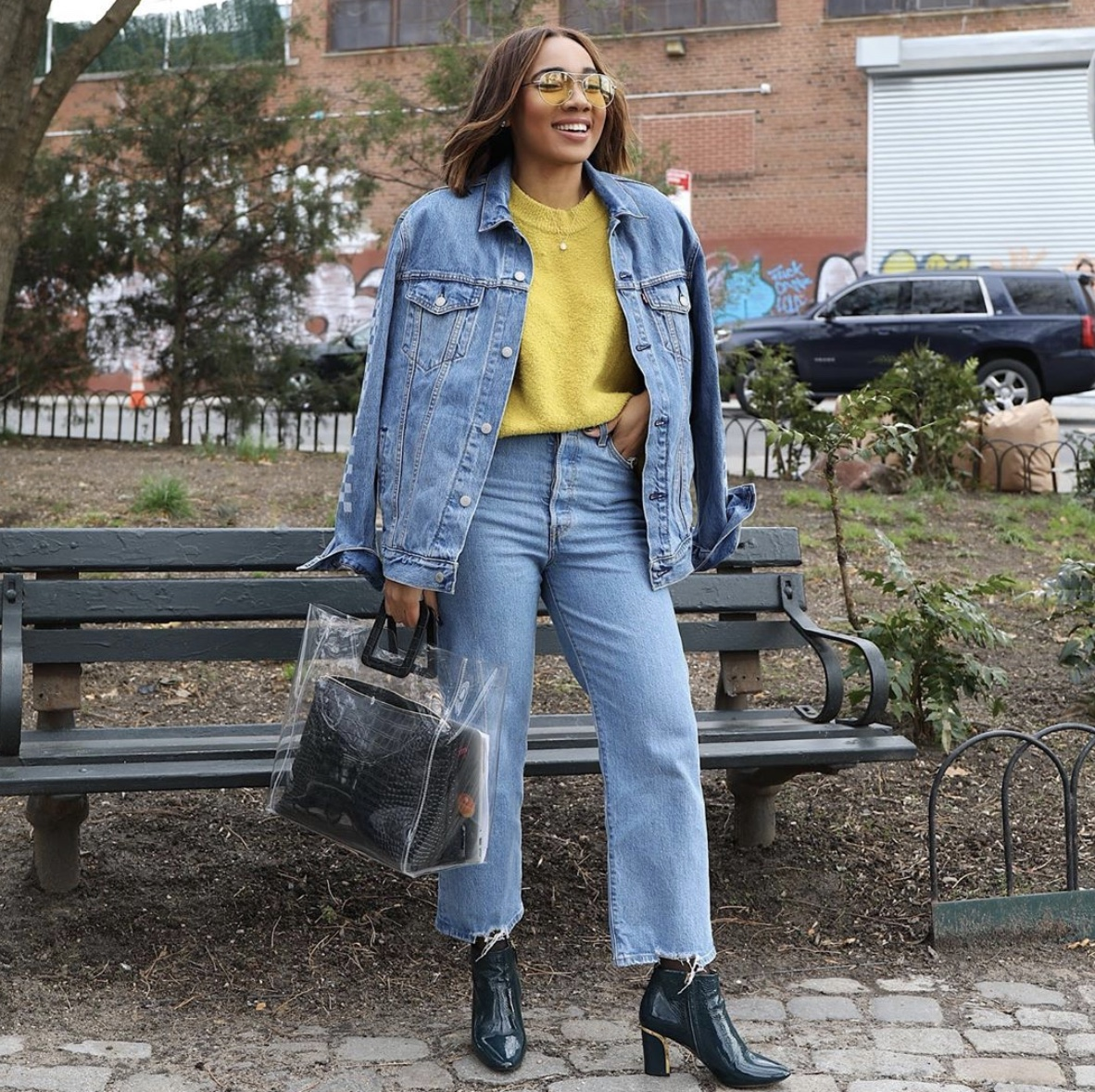 Hint of glamour denim on denim yellow sweater patent leather boots style rave
