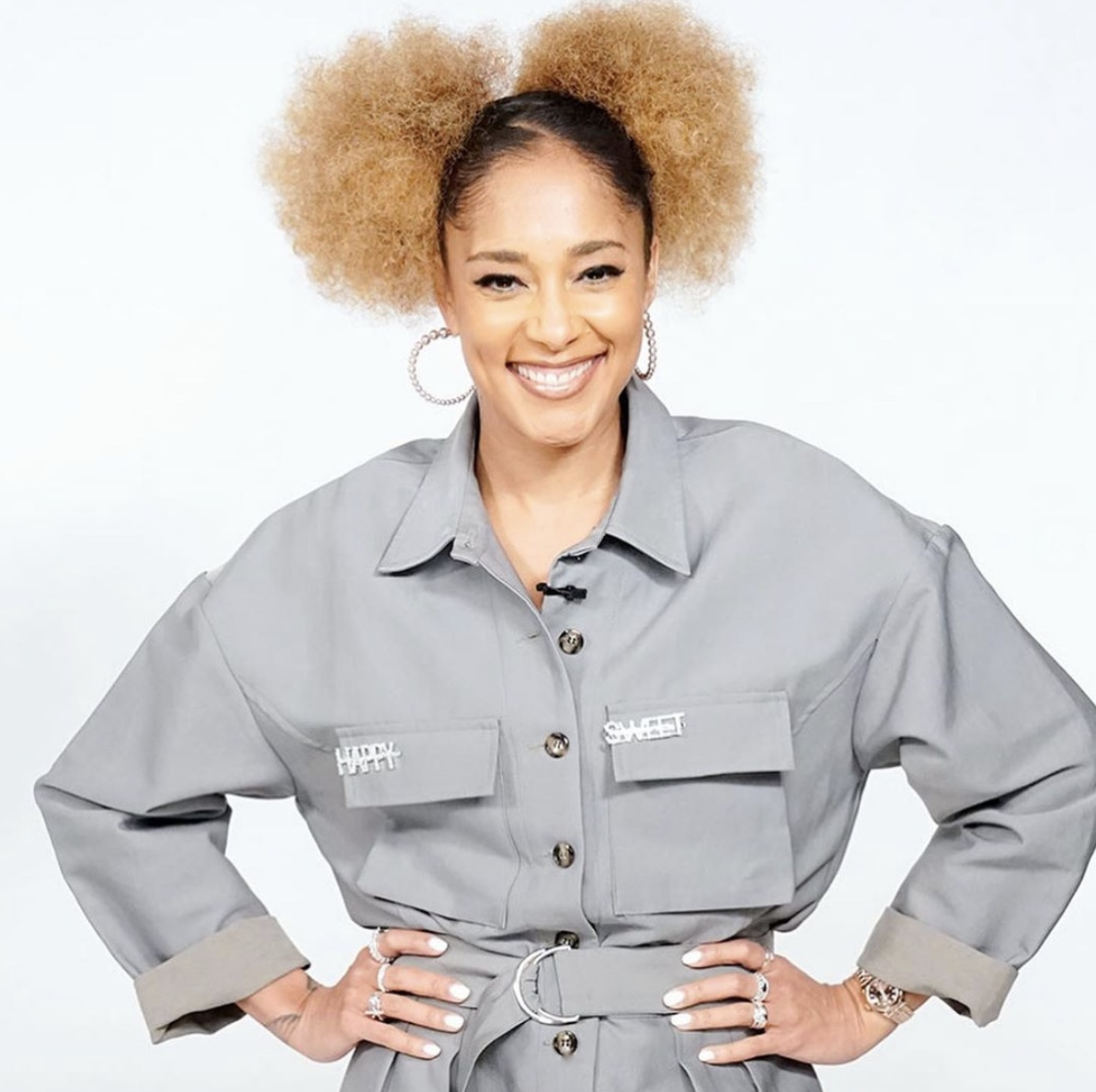 Amanda Seales Double Blonde Natural Hair Buns StyleRave