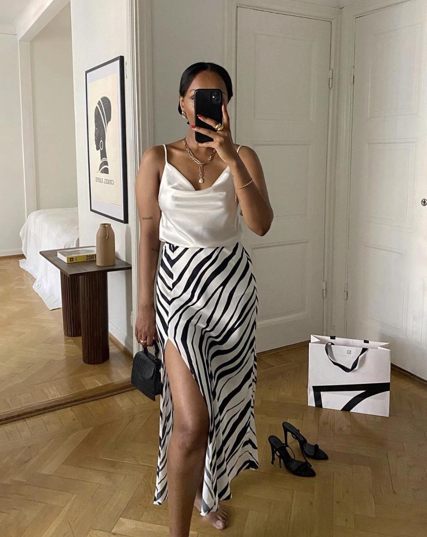 zebra print silk cami satin midi skirt stylerave