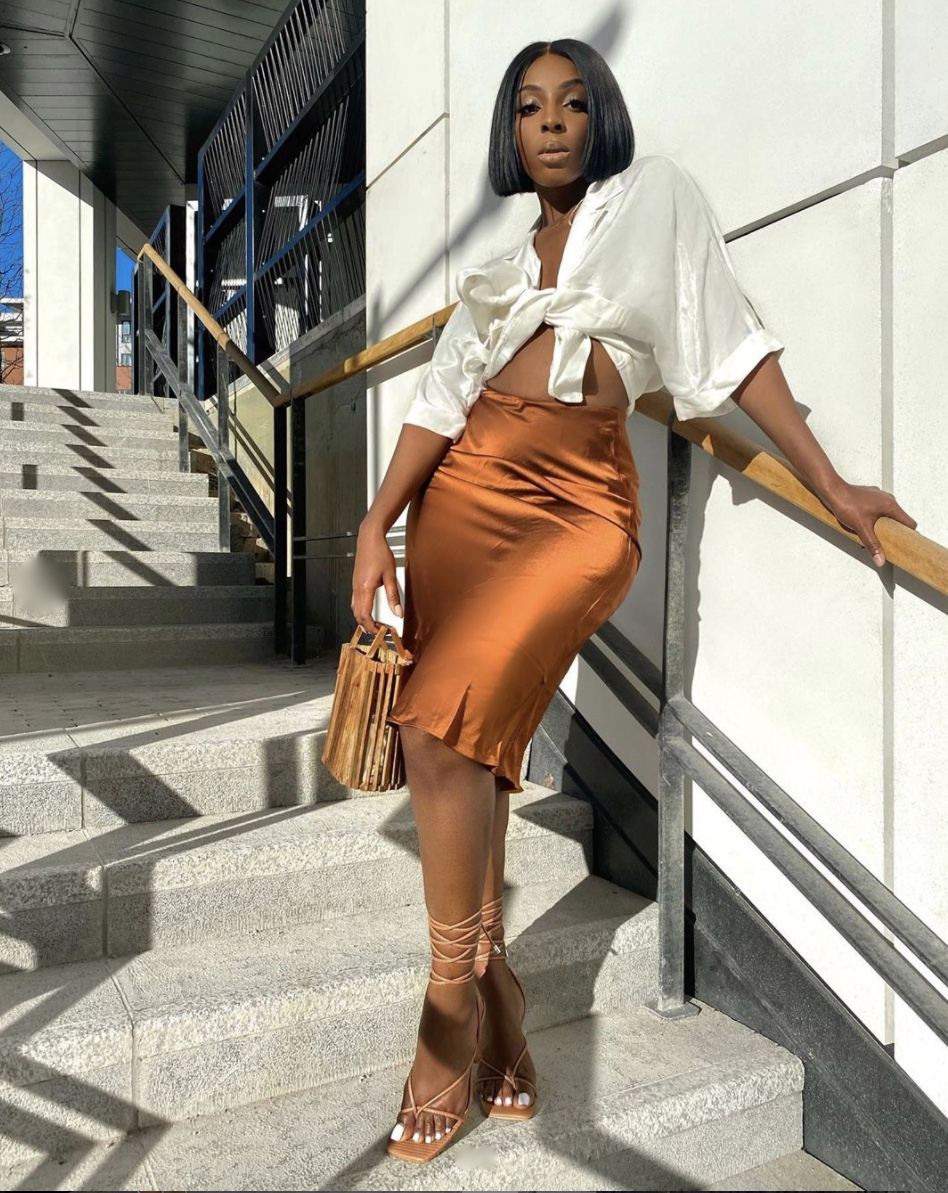burnt orange silk midi skirt stylerave
