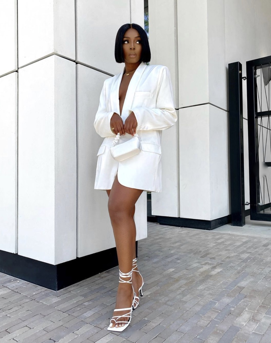 white blazer dress strappy heeled sandals stylerave