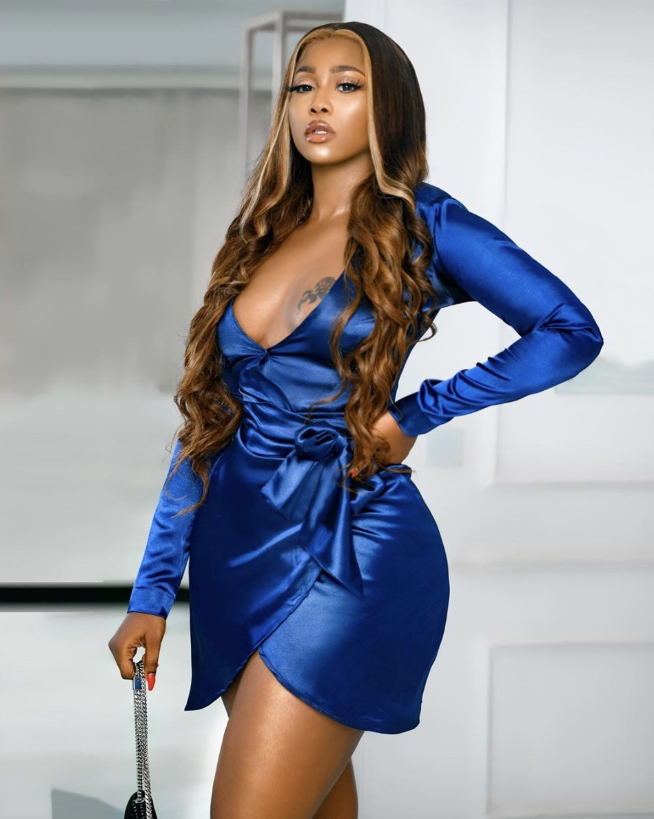 Lilian Afegbai cobalt blue mini satin dress stylerave