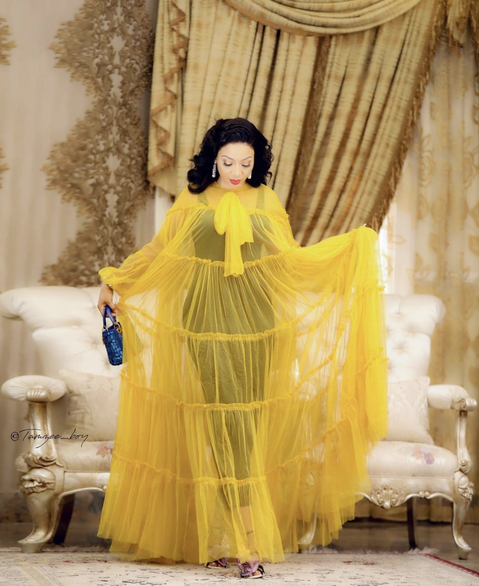 Nimi Nwofor yellow sheer maxi dress stylerave