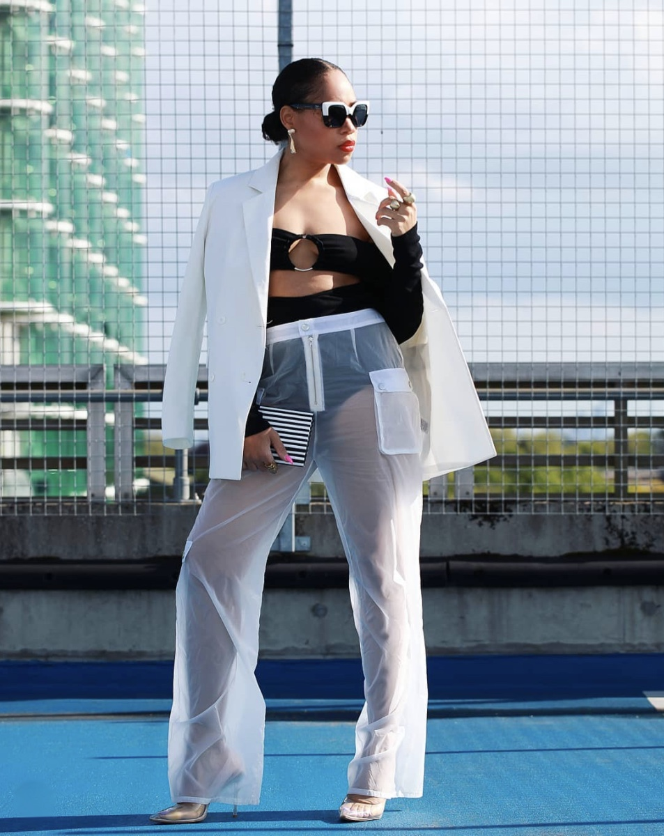 white see through trousers with pockets stylerave