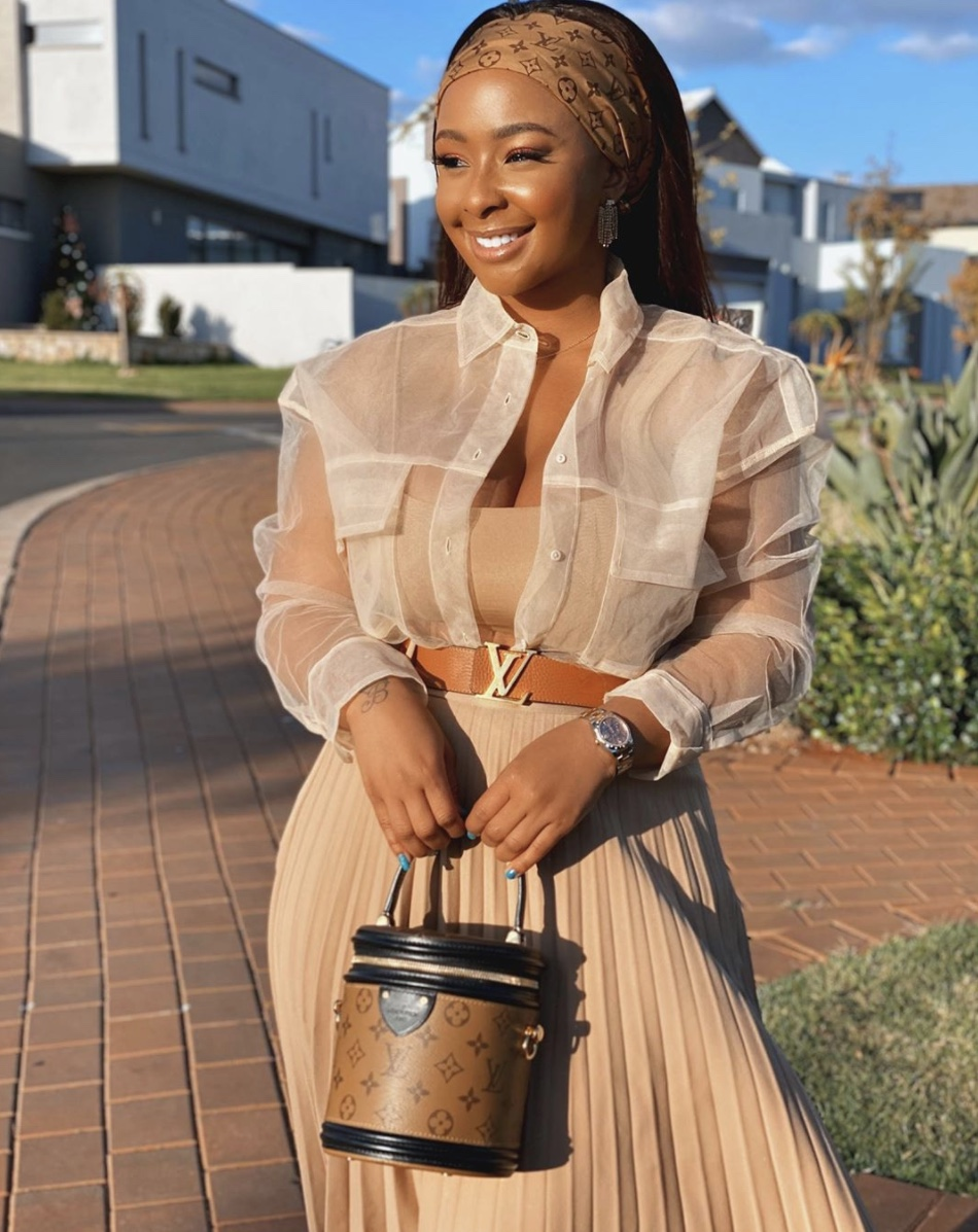 Boity Thulo cream sheer jacket stylerave