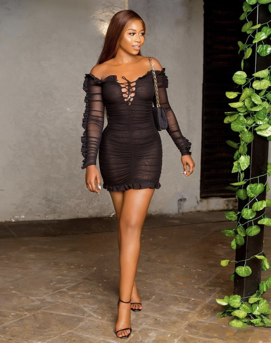 Lilian Afegbai black ruched sheer dresses stylerave