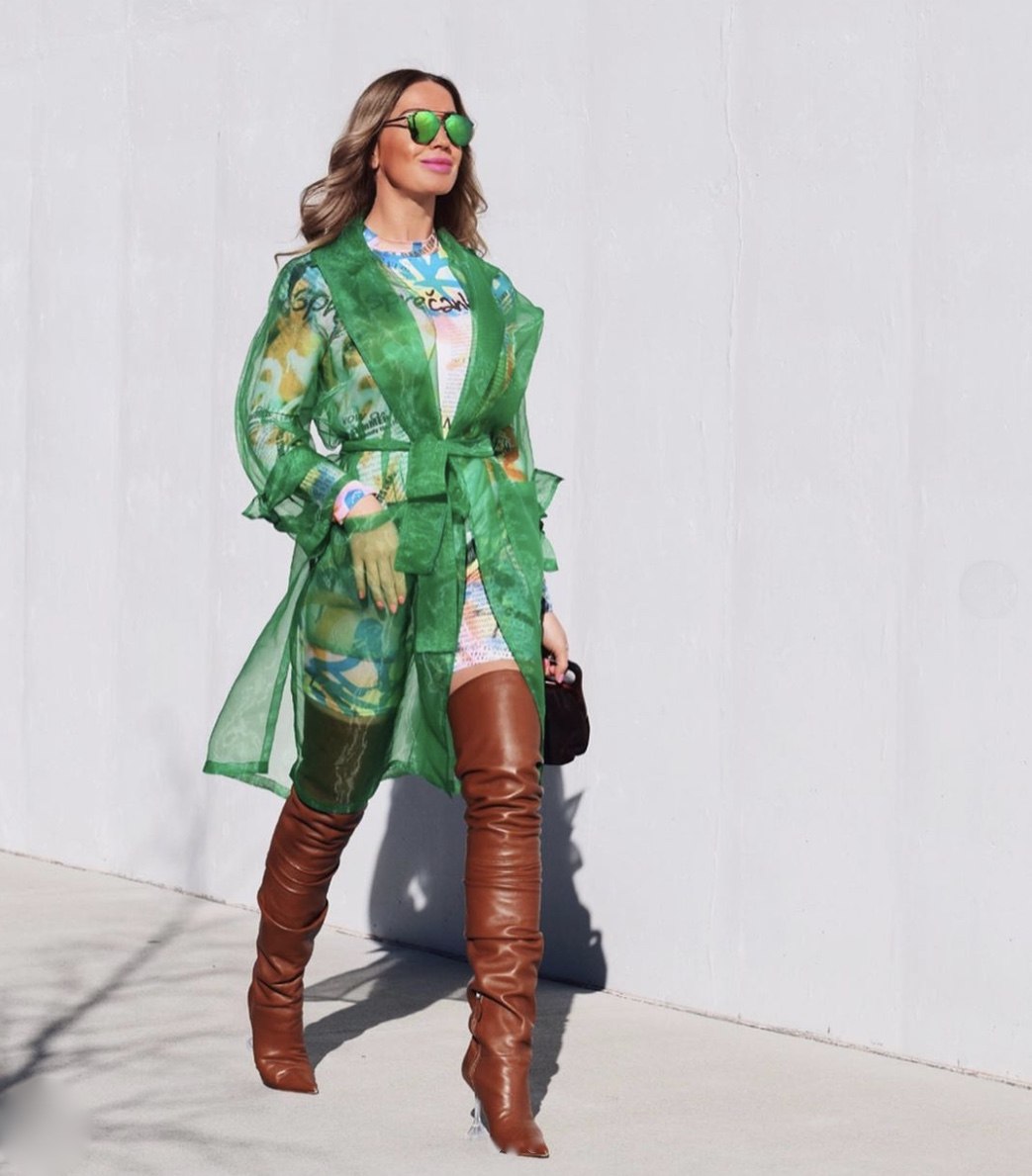 green sheer long sleeve jacket stylerave