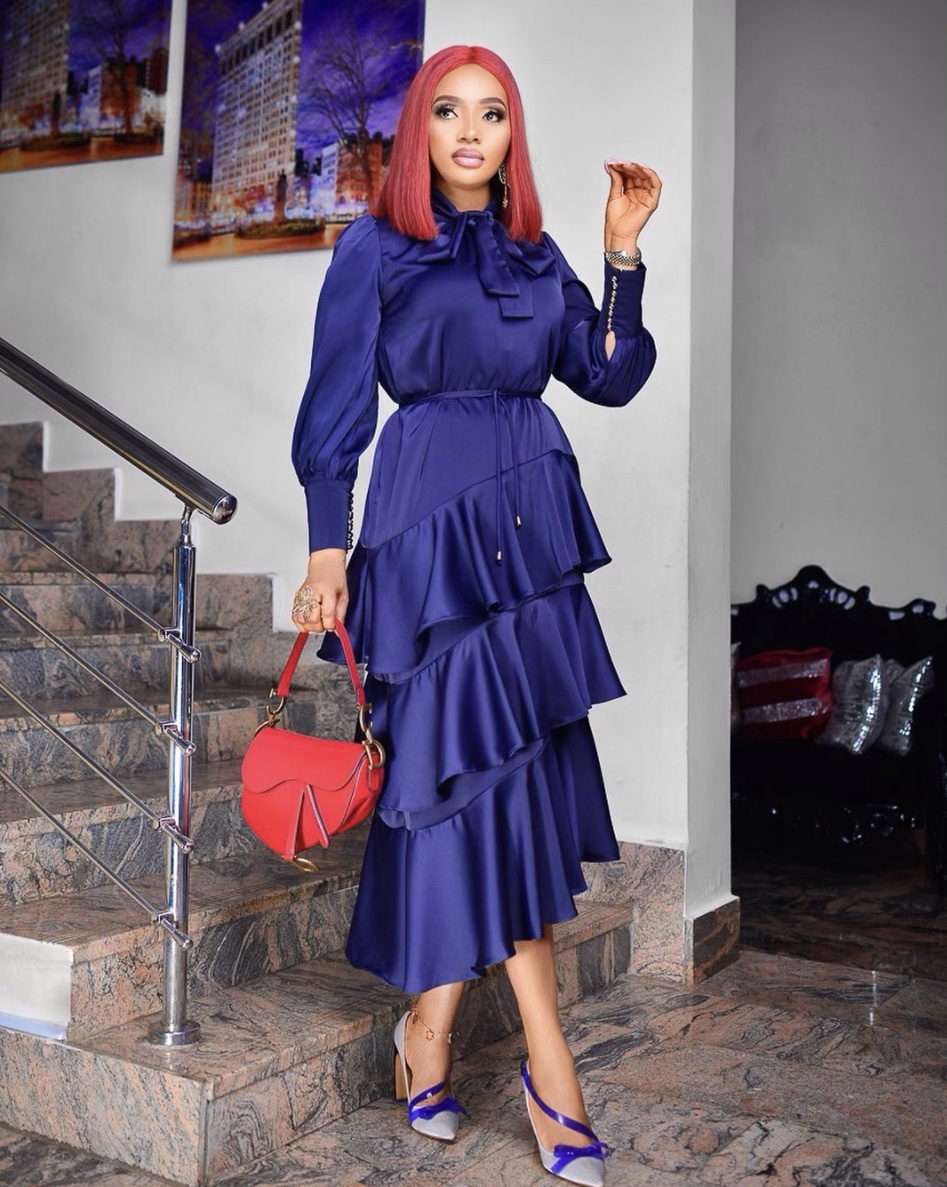 blue long sleeve satin midi dress with ruffles stylerave