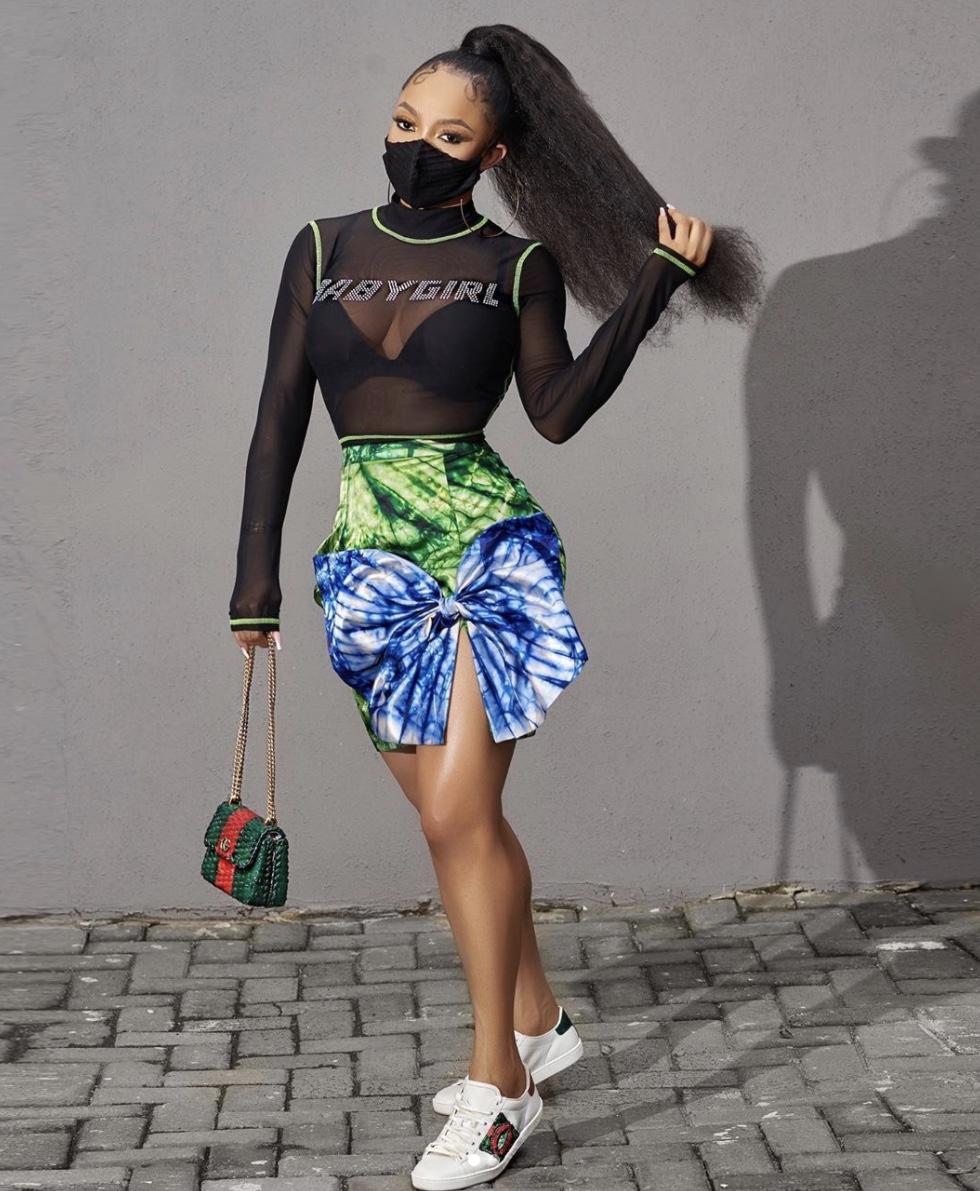 Toke makinwa see through bodysuit adire mini skirts styelrave