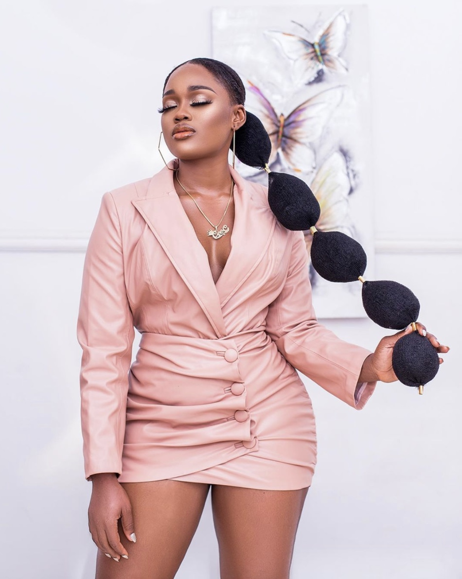 Cynthia Nwadiora pink mini blazer dress