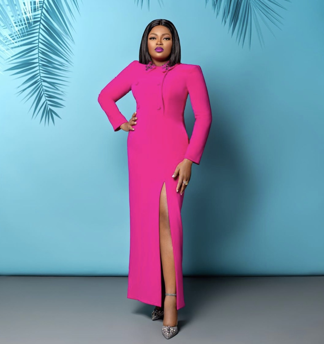 Funke Akindele Bello pink maxi dress stylerave
