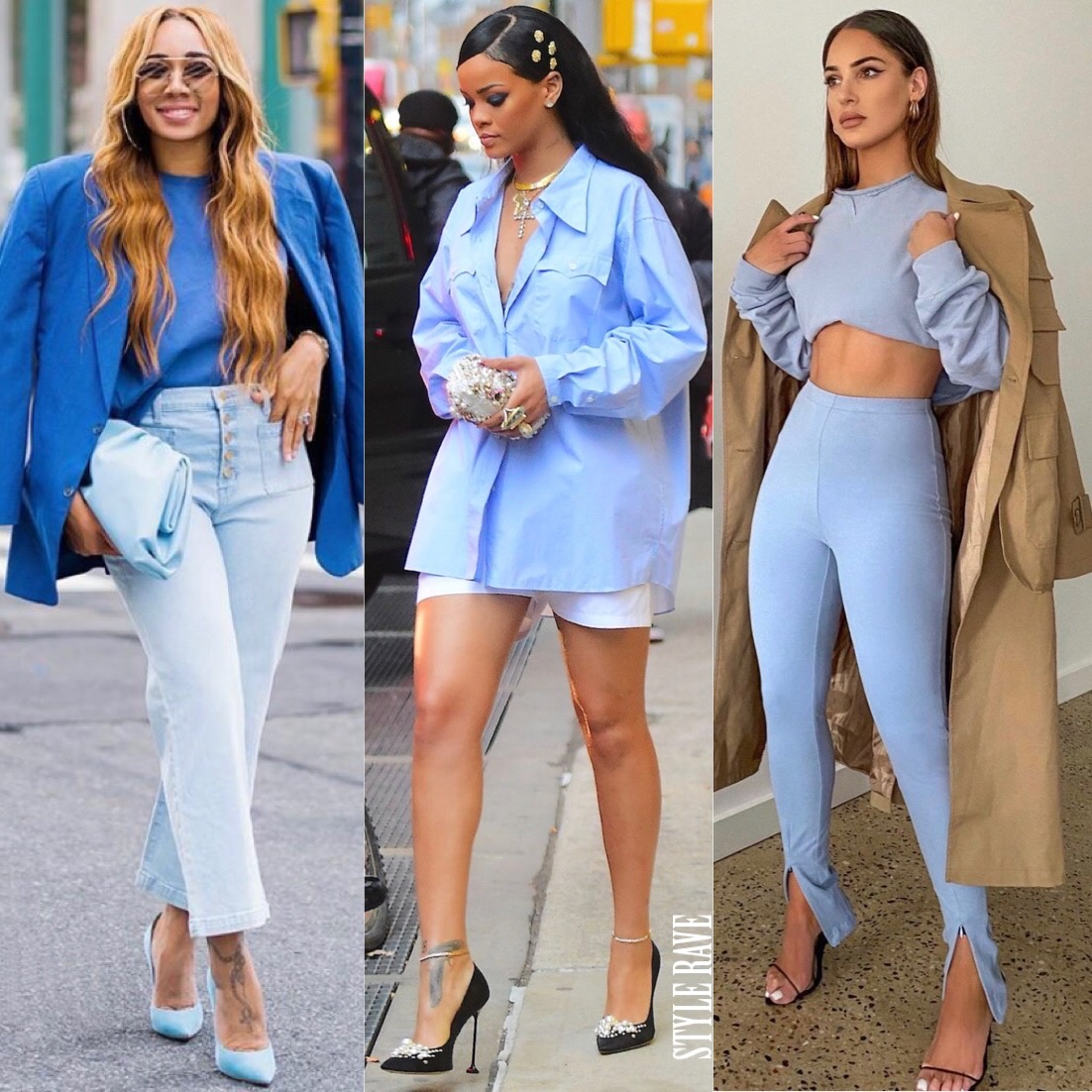 celebrities and instagram fashion influencers wearing baby blue
