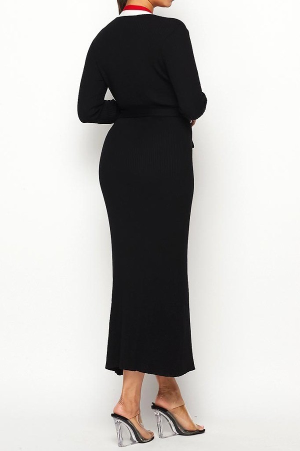 Black Sara Belted Cardigan Wrap Midi Dress For Fall Winter Spring Summer