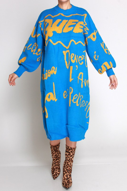Adele Queen long sleeve sweater Dress for women for Fall Winter Spring Autumn