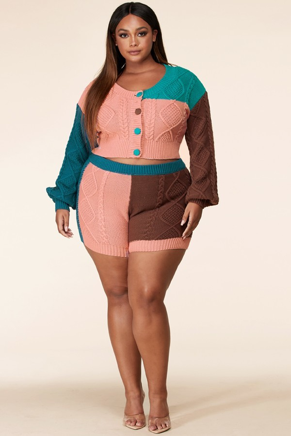 Plus size Tessy Chunky Knit Colourblock Sweater Set For Spring Summer Fall Winter