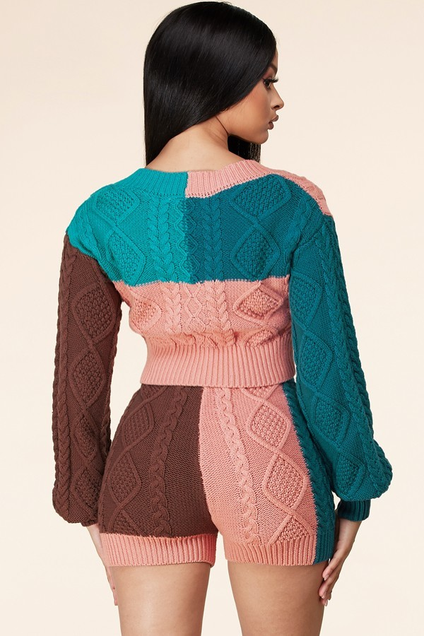 Tessy Chunky Knit Colourblock Sweater Set For Spring Summer Fall Winter