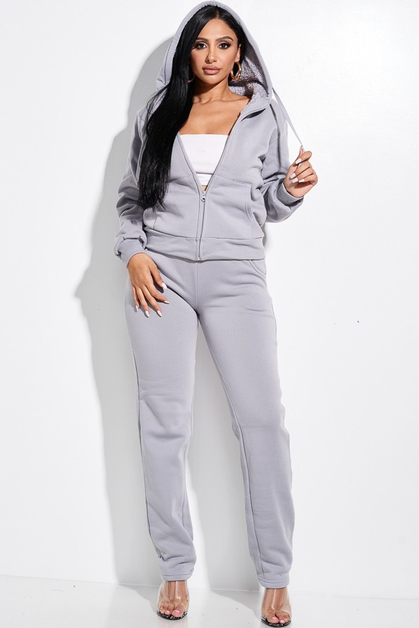 Gray Jasmine Hooded Full Length Zip Tracksuit Set For Fall Summer Spring Winter