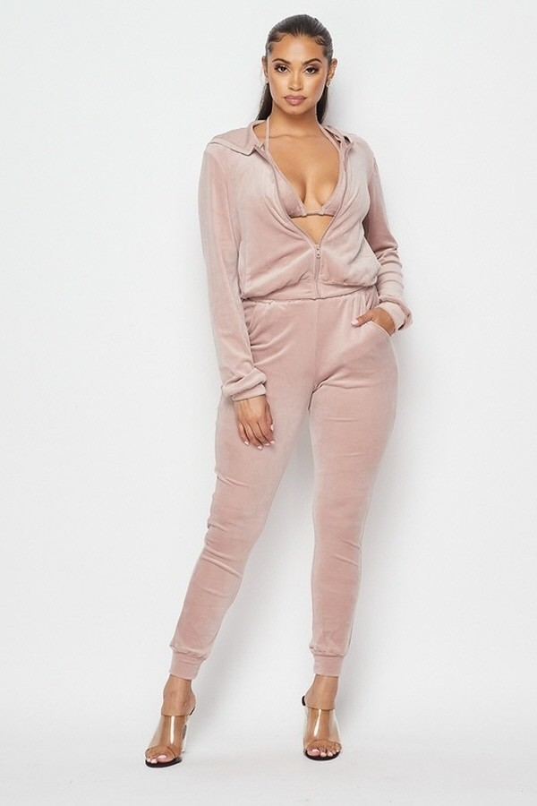 Laila Mauve Velour Three Piece Tracksuit Set For Fall Winter Spring Summer