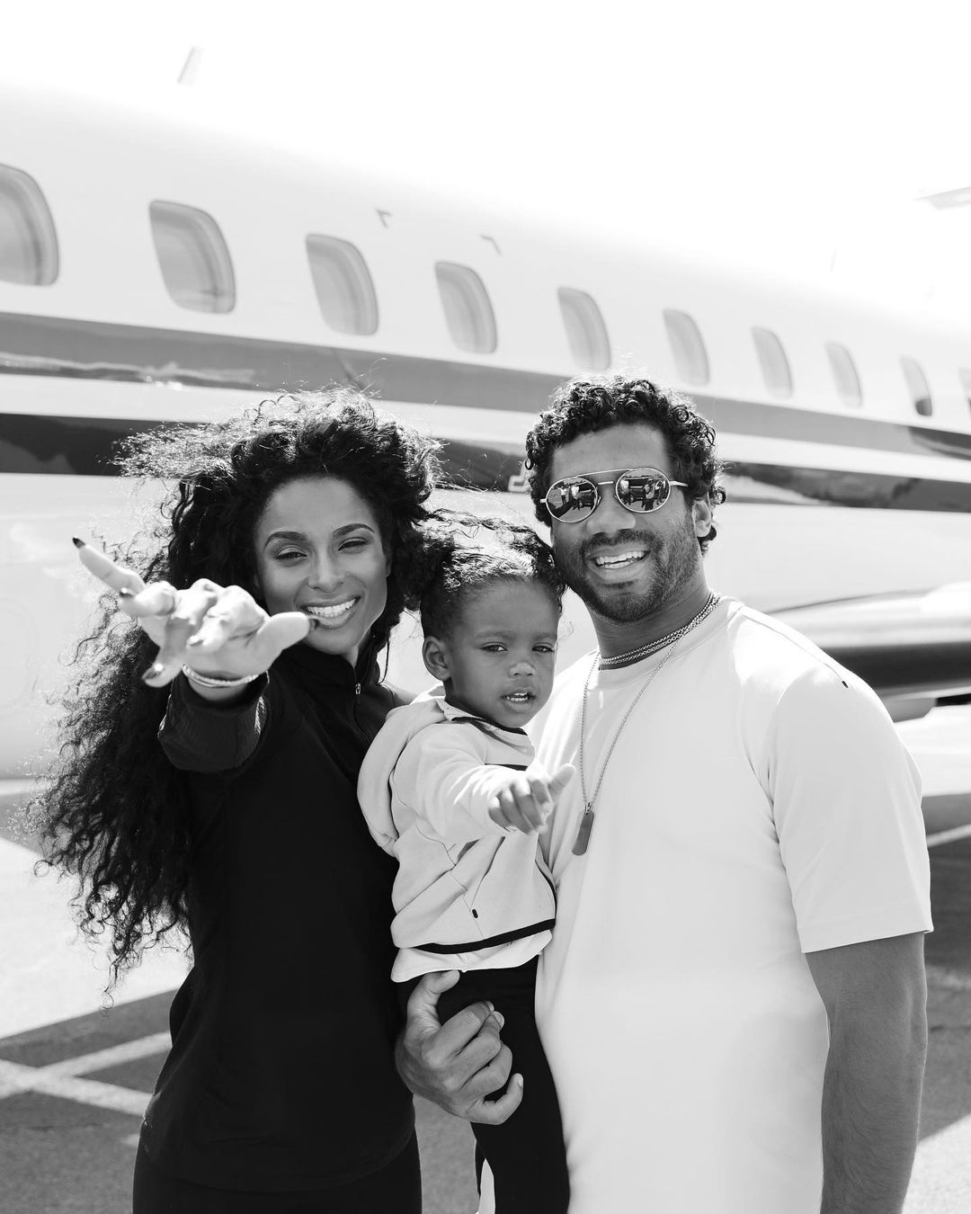 Ciara Wilson and Russell Wilson and their daughter, Sienna Wilson