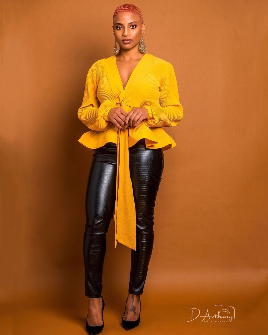 Yellow Fatima Pleated Plunge Neckline Tie Up Peplum Blouse Top For Fall Winter Spring Summer