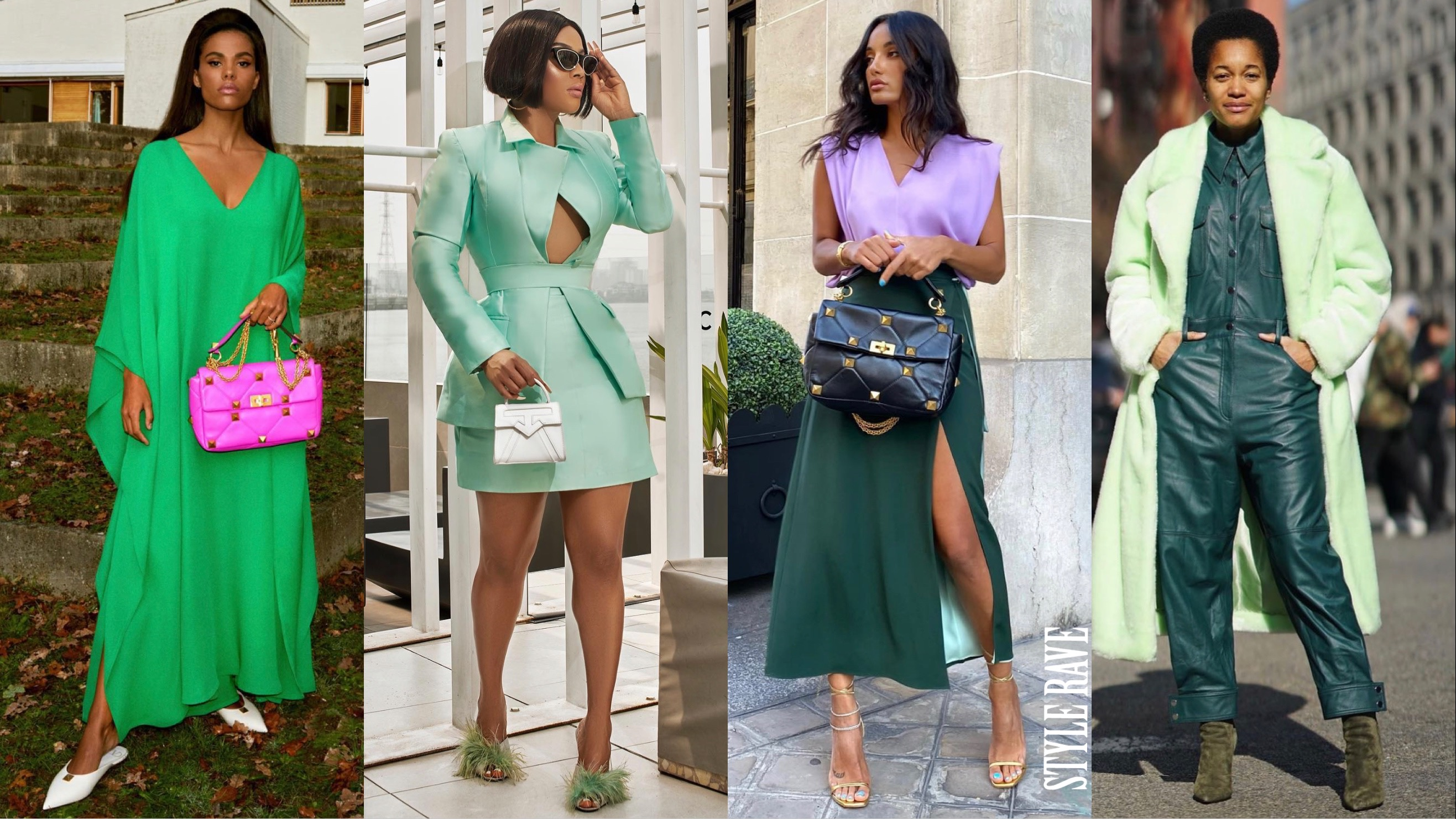 four-women-showing-how-to-wear-green-outfits-and-style-clothes