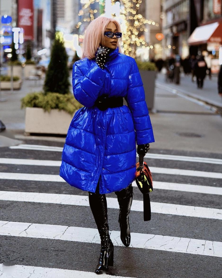blue puffer jacket winter fashion trends 2020 stylerave